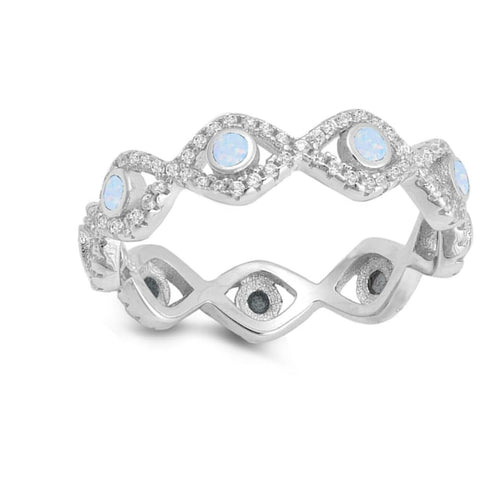 Image of Rings $47.99 Eternity Band of Light Blue White Bezel Evil Eye Lab Opals Set in Cubic Zirconia and Sterling Silver clear cz eternity opal