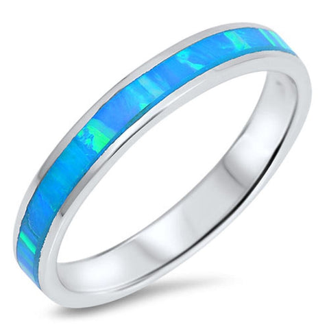 Rings $36.94 Eternity Blue Simulated Opal Smooth Inlay Set in Thin Stackable Band blue eternity opal stackable