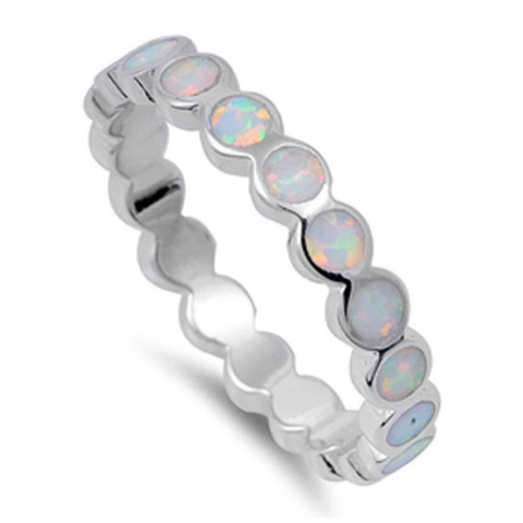 Image of Rings $28.33 Eternity Circle White Lab Opal in a Stackable Sterling Silver Ring 25-50 badge-toprated circle eternity opal
