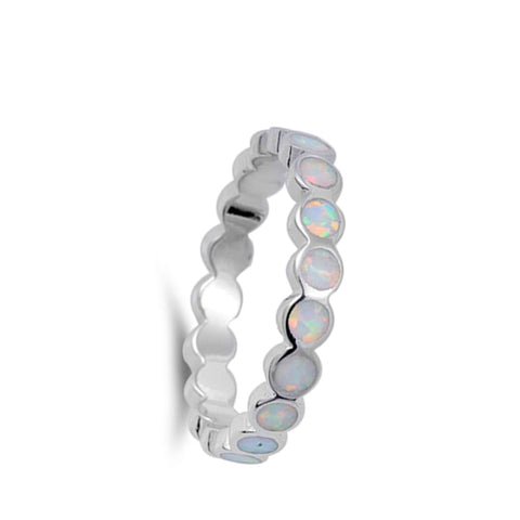 Image of Rings $28.33 Eternity Circle White Lab Opal in a Stackable Sterling Silver Ring 25-50 circle eternity opal rings