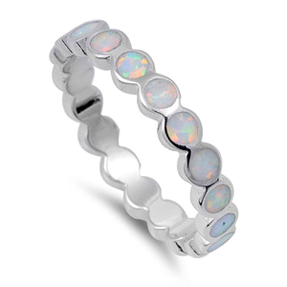 Rings $28.33 Eternity Circle White Lab Opal in a Stackable Sterling Silver Ring 25-50 circle eternity opal rings