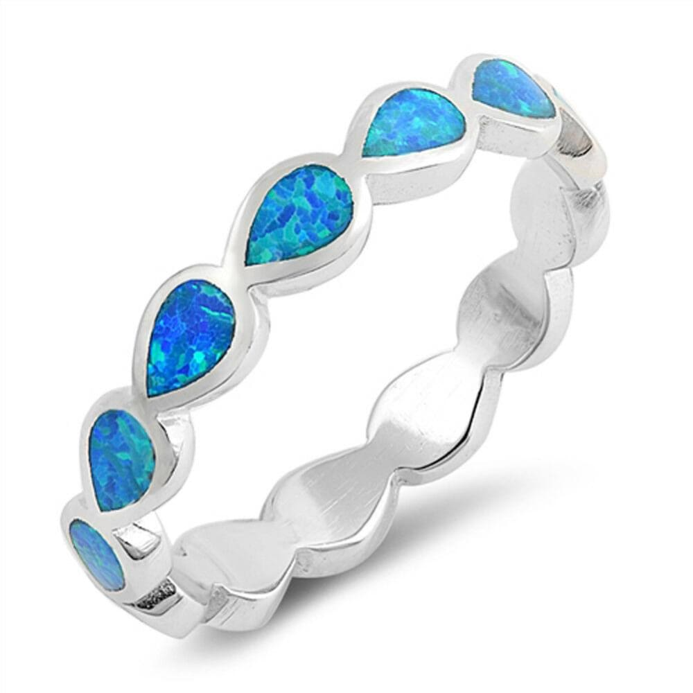 Rings $29.80 Eternity Teardrop Blue Lab Opal Sterling Silver Ring Size 5-10 25-50 blue opal rings size-10