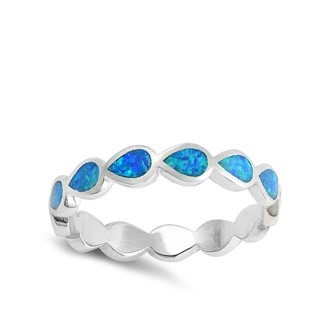 Image of Rings $29.80 Eternity Teardrop Blue Lab Opal Sterling Silver Ring Size 5-10 25-50 blue opal rings size-10