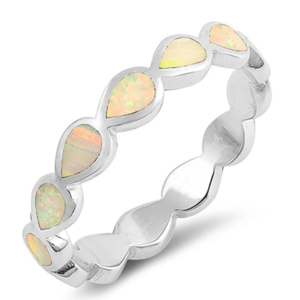 Rings $29.80 Eternity Teardrop White Lab Opal Sterling Silver Ring Size 5-10 25-50 badge-toprated eternity opal rings