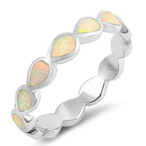 Image of Rings $29.80 Eternity Teardrop White Lab Opal Sterling Silver Ring Size 5-10 25-50 badge-toprated eternity opal rings