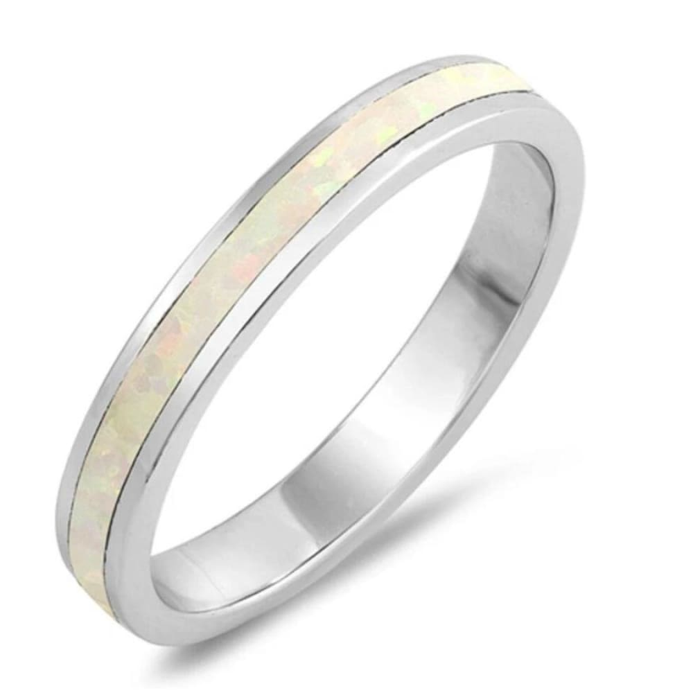 Rings $29.38 Eternity White Lab Opal in a Stackable Wedding Band 25-50 badge-toprated eternity opal rings