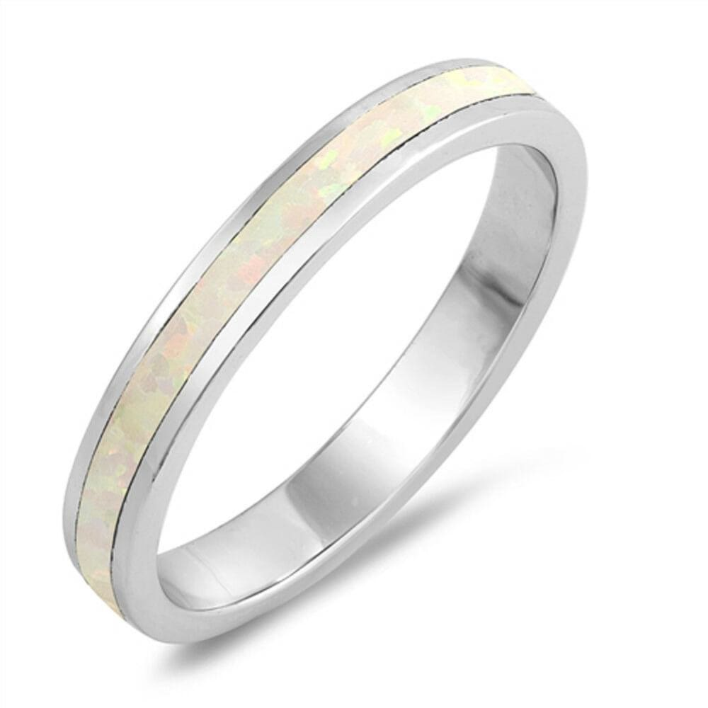 Rings $29.38 Eternity White Lab Opal in a Stackable Wedding Band 25-50 eternity opal rings size-10