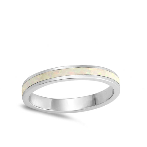 Image of Rings $29.38 Eternity White Lab Opal in a Stackable Wedding Band 25-50 eternity opal rings size-10