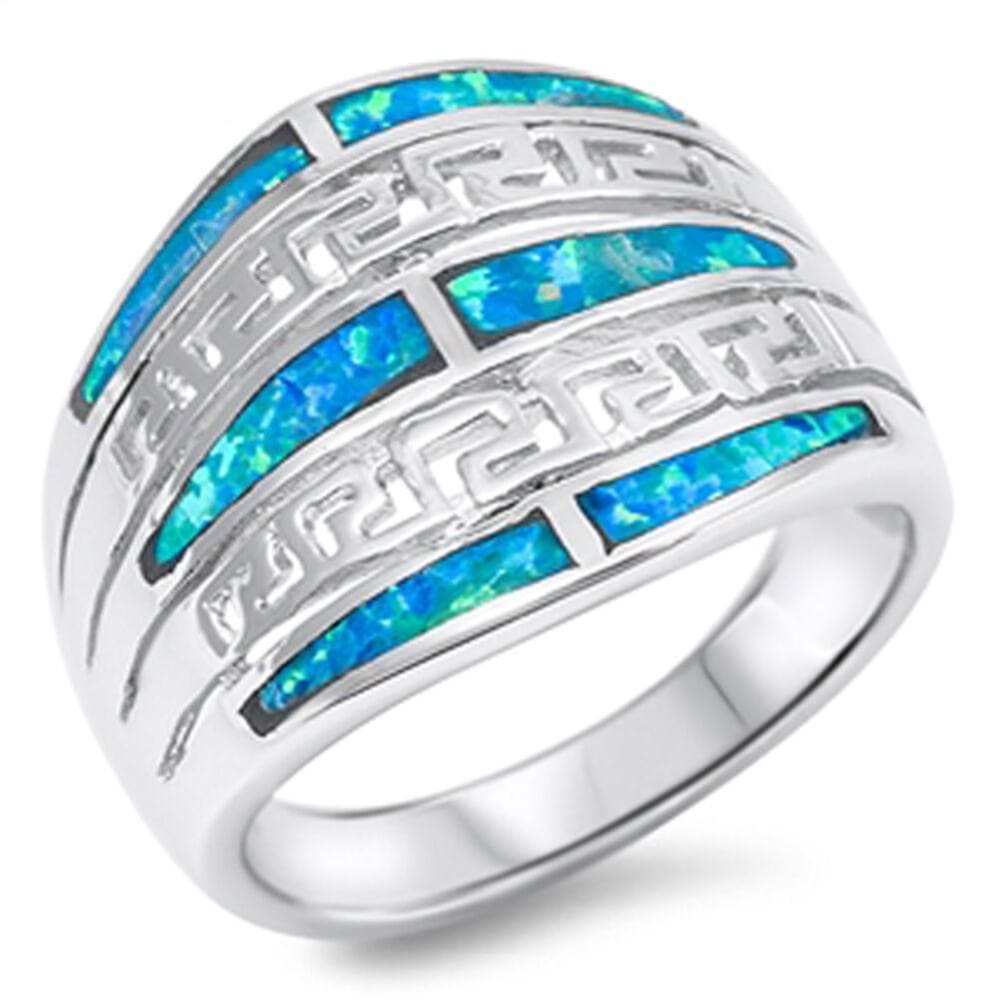 Rings $49.12 Exquisite Greek Key Design with Blue Simulated Opal Set in the Band blue opal