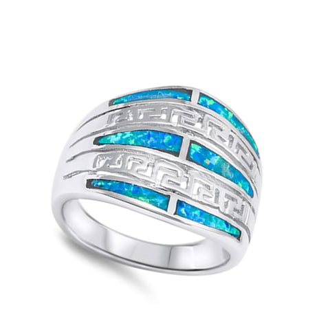 Image of Rings $49.12 Exquisite Greek Key Design with Blue Simulated Opal Set in the Band blue opal