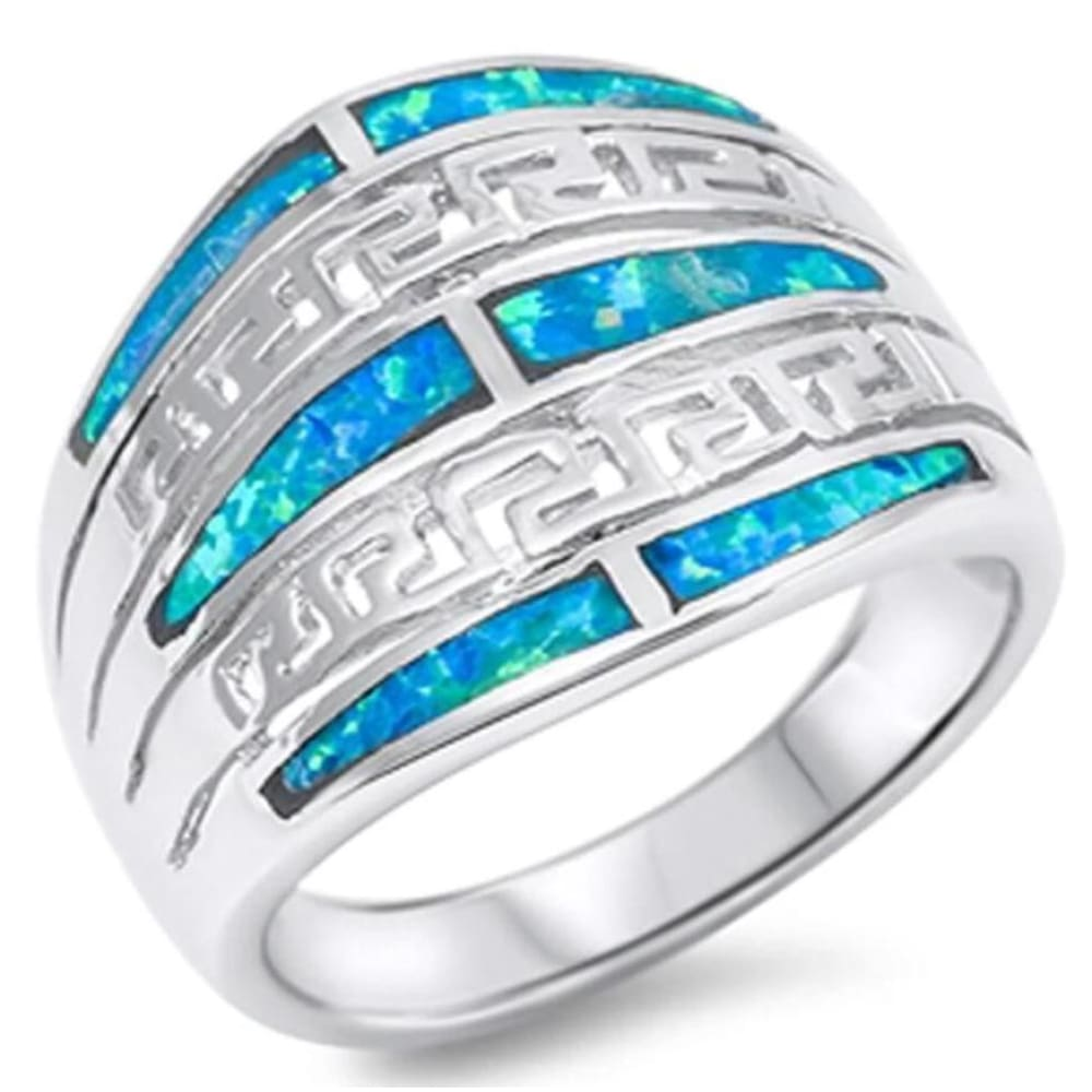 Rings $49.12 Exquisite Greek Key Design with Blue Simulated Opal Set in the Band 25-50 badge-toprated blue opal rings