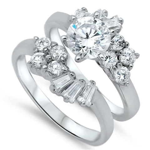Image of Rings $65.78 Floral Cluster Set Engagement Ring with Matching Band 0.50 Carat 50-100 badge-toprated baguette Bridal Sets