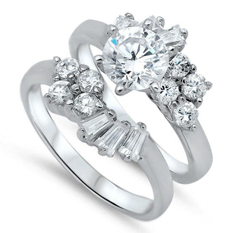 Rings $65.78 Floral Cluster Set Engagement Ring with Matching Band 0.50 Carat baguette Bridal Sets clear cz