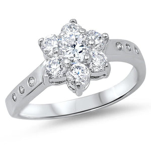 Floral Star Cubic Zirconia Sterling Silver Ring