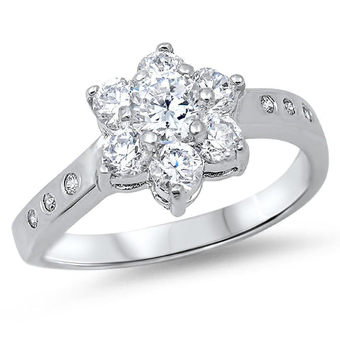 Rings $43.99 Floral Star Cubic Zirconia Sterling Silver Ring Cz Floral Star