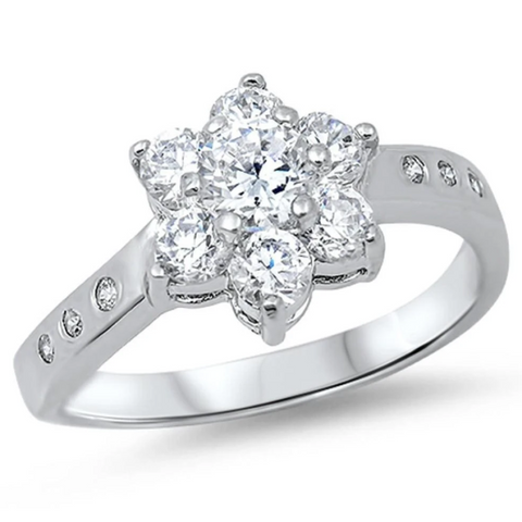 Rings $43.99 Floral Star Cubic Zirconia Sterling Silver Ring 25-50 badge-toprated clear cubic-zirconia cz