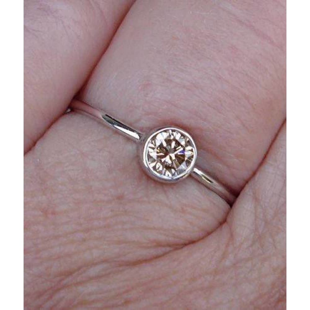 Rings $499.00 Golden Diamond Bezel Minimalist Ring - 14K White Gold 0.29 Carat Bezel Er