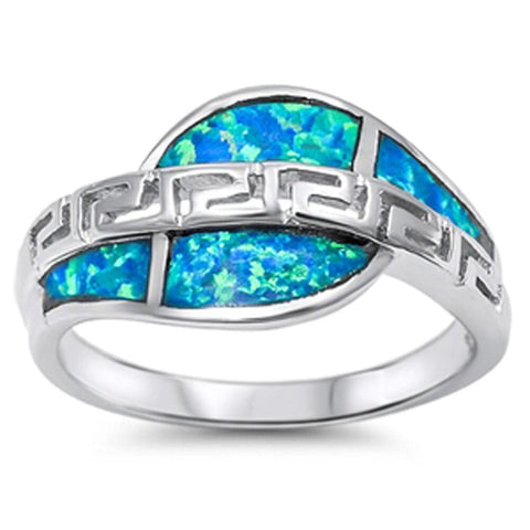 Image of Rings $32.74 Greek Key Design with Blue Lab Opal Set in Sterling Silver Ring blue greek mosaic opal