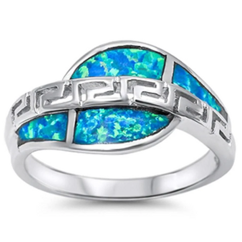 Image of Rings $32.74 Greek Key Design with Blue Lab Opal Set in Sterling Silver Ring 25-50 badge-toprated blue cubic-zirconia cz
