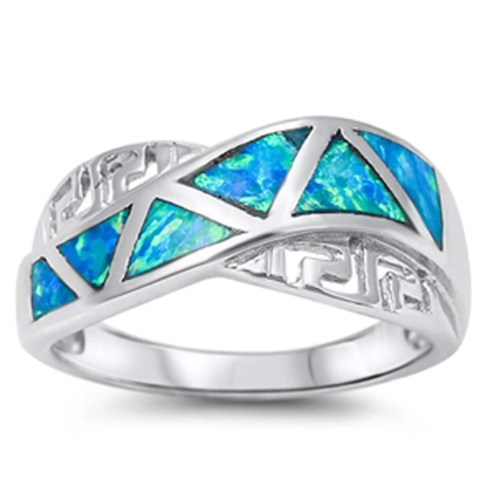 Rings $28.33 Greek Key with Blue Lab Opal Mosaic Smooth Inlay Ring 25-50 badge-toprated blue greek mosaic