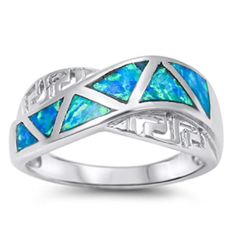 Image of Rings $28.33 Greek Key with Blue Lab Opal Mosaic Smooth Inlay Ring blue greek mosaic opal