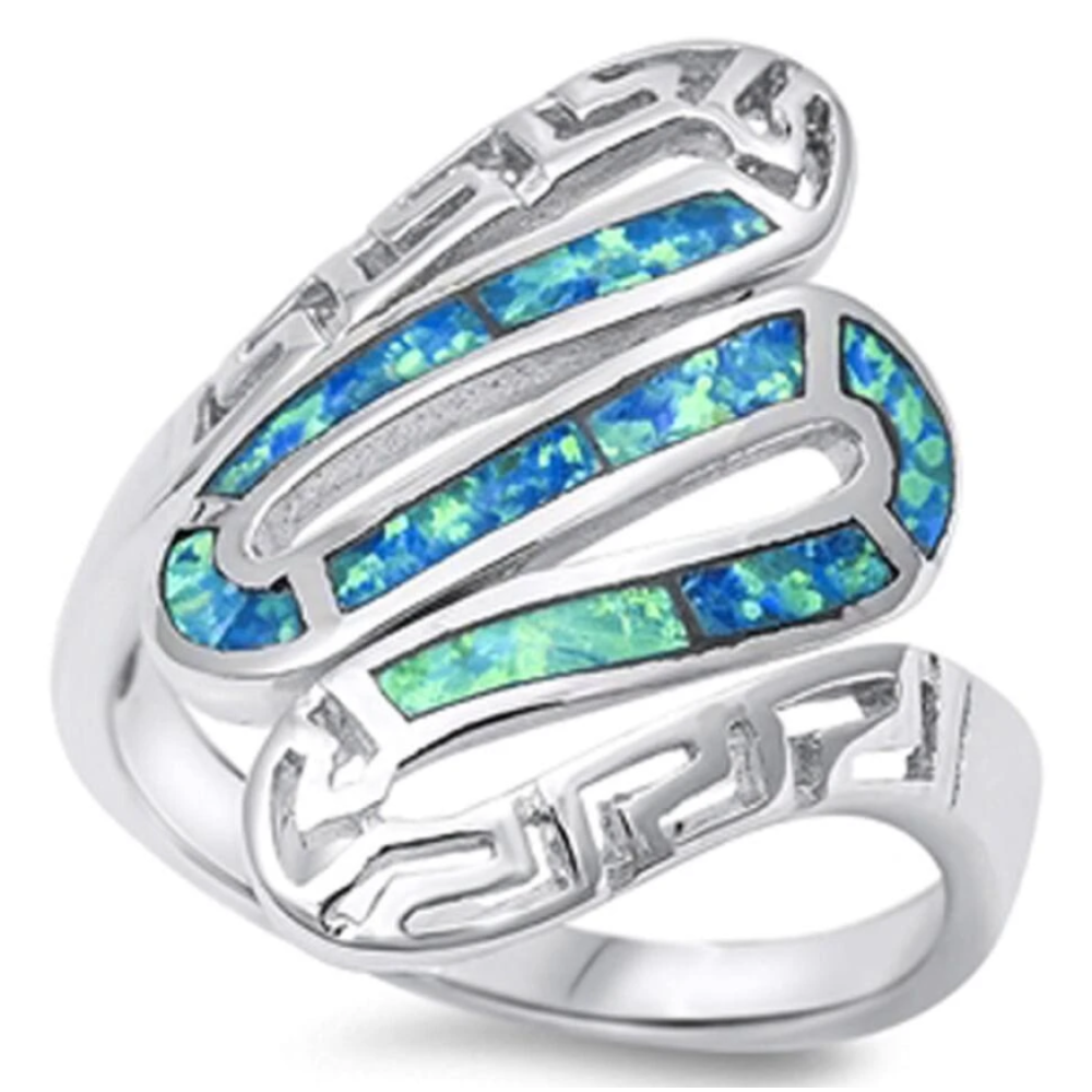 Rings $37.78 Greek Snake Inlay with Blue Lab Opal in Sterling Silver Band 25-50 badge-toprated blue greek opal