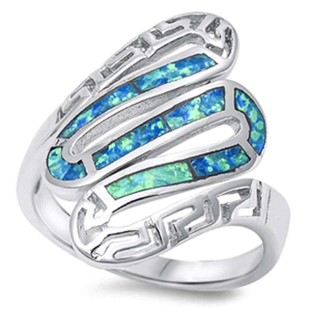 Rings $37.78 Greek Snake Inlay with Blue Lab Opal in Sterling Silver Band blue greek opal