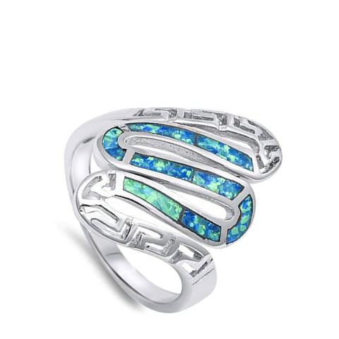 Image of Rings $37.78 Greek Snake Inlay with Blue Lab Opal in Sterling Silver Band blue greek opal