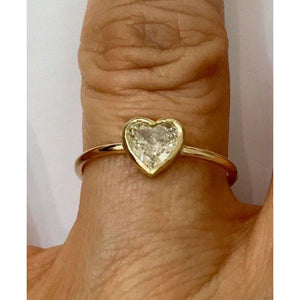 Handmade 0.50 Carat Minimalist Bezel Heart Shaped Diamond Ring - 14K Yellow Gold