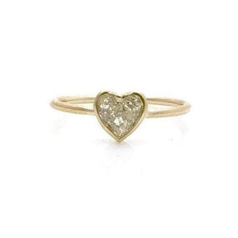 Rings $999.99 Handmade 0.50 Carat Minimalist Bezel Heart Shaped Diamond Ring - 14K Yellow Gold Bezel Heart Yg