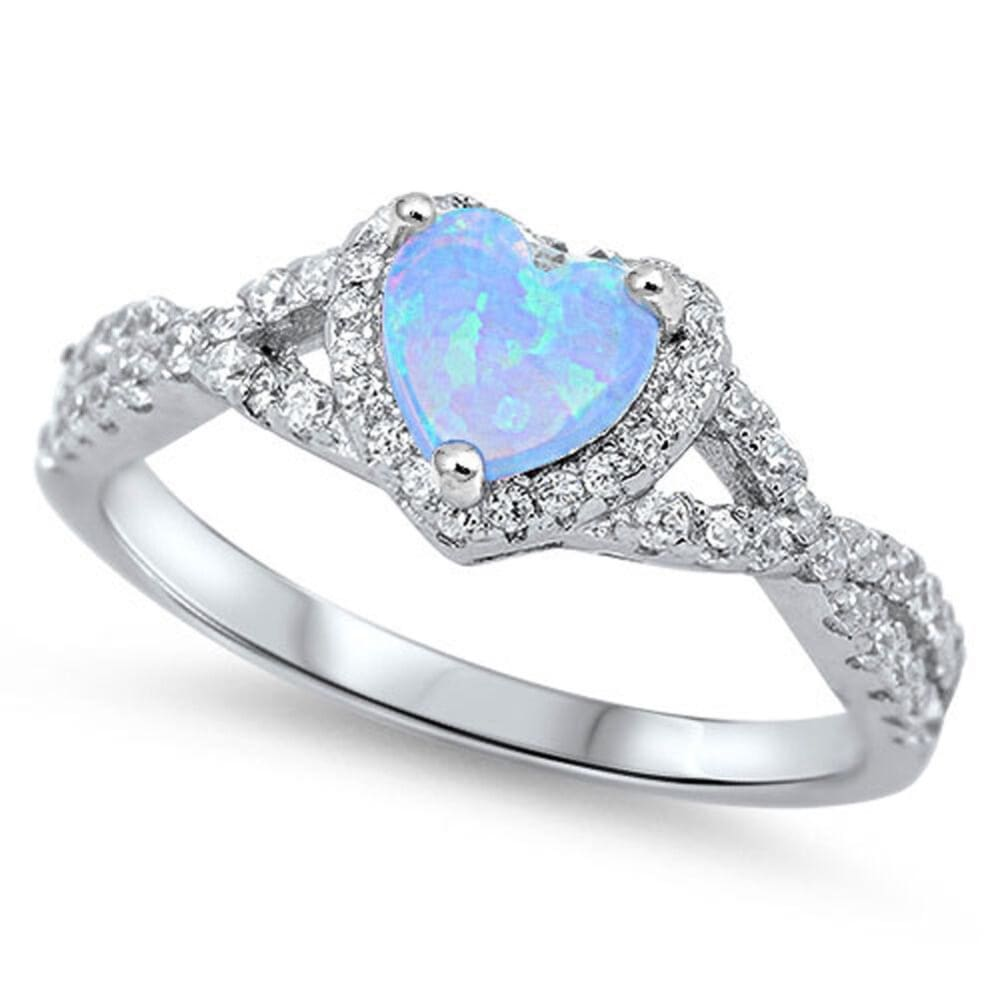 Rings $29.38 Heart Blue Lab Opal with Clear CZ Halo in a Twisted Shank Ring 25-50 blue clear cubic-zirconia cz