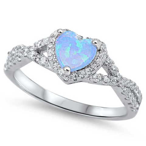 Image of Rings $29.38 Heart Blue Lab Opal with Clear CZ Halo in a Twisted Shank Ring 25-50 badge-toprated blue clear cubic-zirconia