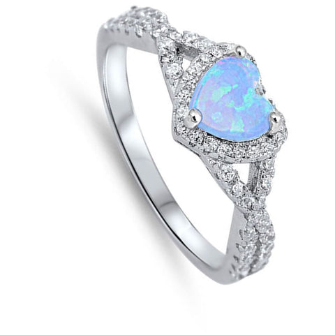 Image of Rings $29.38 Heart Blue Lab Opal with Clear CZ Halo in a Twisted Shank Ring 25-50 blue clear cubic-zirconia cz