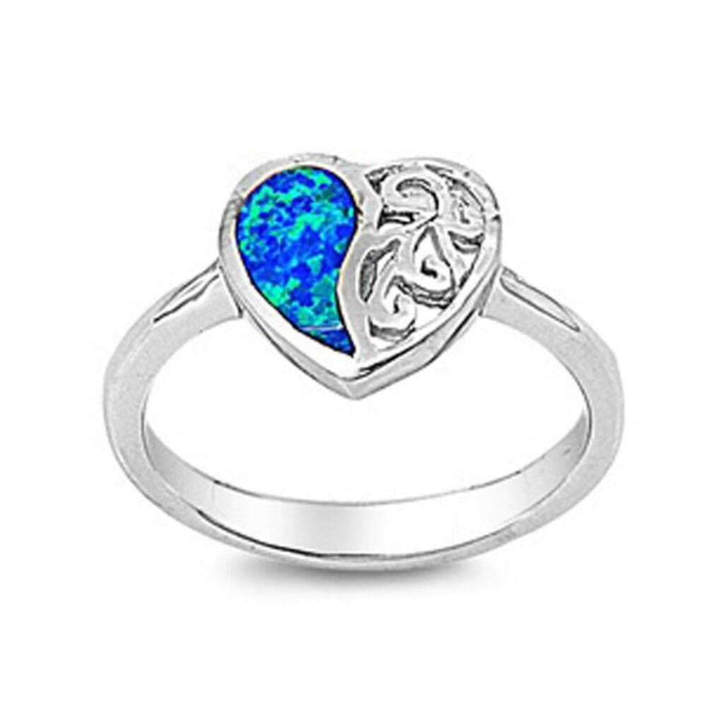 Rings $31.48 Heart Blue Lab Opal with Swirls Engraved into Sterling Silver Band blue opal. heart