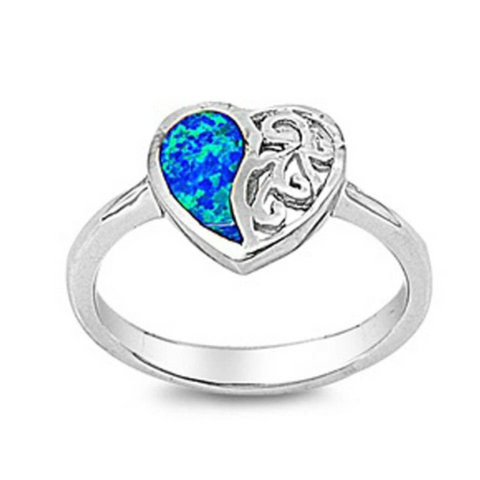 Image of Rings $31.48 Heart Blue Lab Opal with Swirls Engraved into Sterling Silver Band 25-50 badge-toprated blue heart heart-shaped