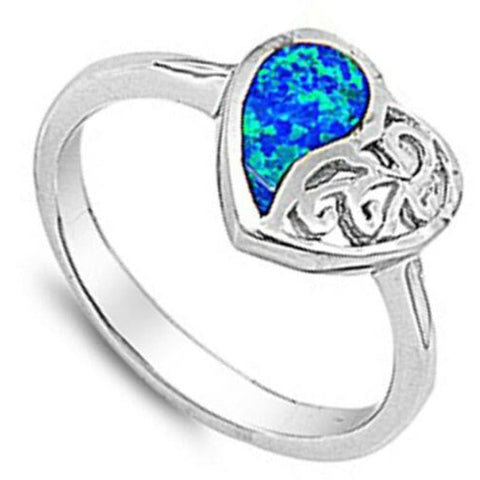 Image of Rings $31.48 Heart Blue Lab Opal with Swirls Engraved into Sterling Silver Band blue opal. heart