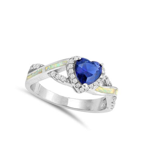 Rings $33.16 Heart Blue Sapphire with Crisscross Band in Clear CZ Stones and White Lab Opal Smooth Inlay blue clear cubic-zirconia cz opal