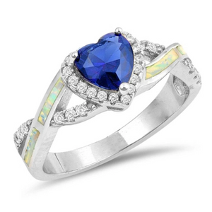 Rings $33.16 Heart Blue Sapphire with Crisscross Band in Clear CZ Stones and White Lab Opal Smooth Inlay 25-50 badge-toprated blue clear