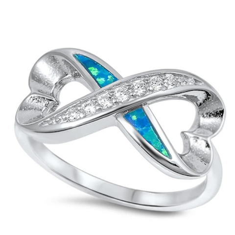 Image of Rings $33.58 Heart Infinity Ring With Blue Lab Opal and Clear CZ Stones Set in Band 25-50 badge-toprated blue clear cubic-zirconia