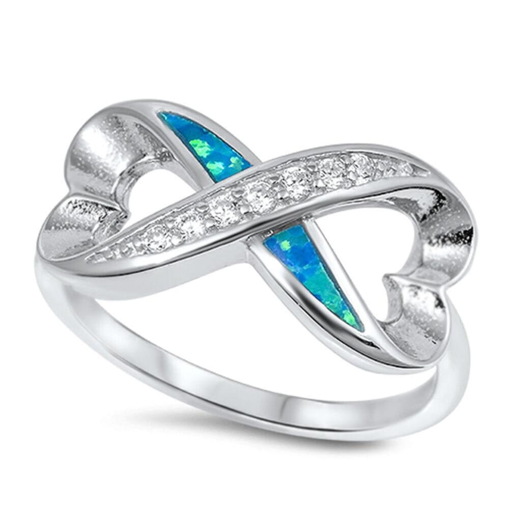 Rings $33.58 Heart Infinity Ring With Blue Lab Opal and Clear CZ Stones Set in Band blue clear cubic-zirconia cz heart