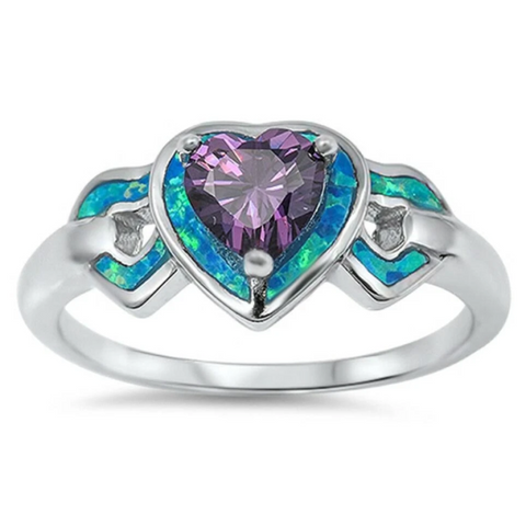Image of Rings $31.90 Heart-Shaped Amethyst CZ Stone with Triple Heart Blue Lab Opals Set in the Sterling Silver Band