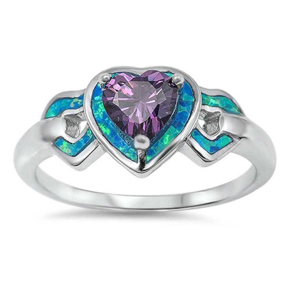 Rings $31.90 Heart-Shaped Amethyst CZ Stone with Triple Heart Blue Lab Opals Set in the Sterling Silver Band amethyst blue cubic-zirconia cz