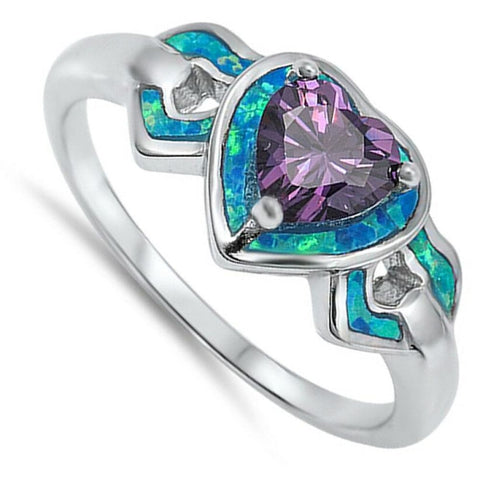 Image of Rings $31.90 Heart-Shaped Amethyst CZ Stone with Triple Heart Blue Lab Opals Set in the Sterling Silver Band amethyst blue cubic-zirconia cz