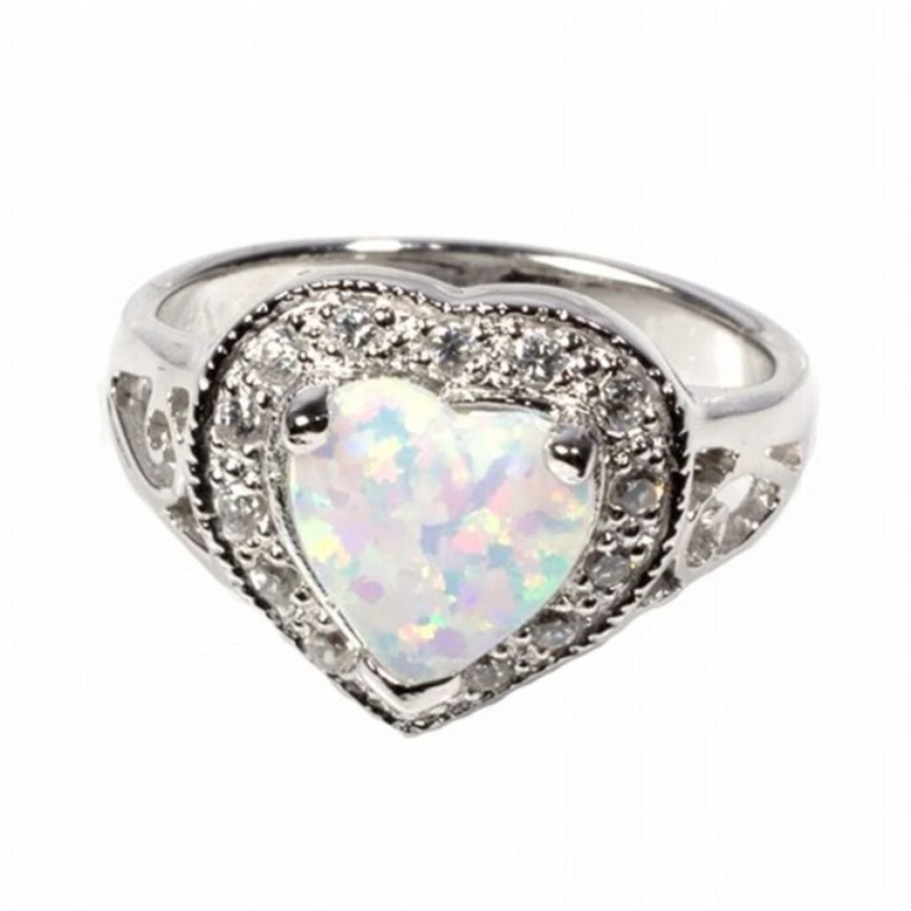 Rings $39.46 Heart Shaped White Opal with CZ Stones Set in Halo Ring 25-50 badge-toprated clear cubic-zirconia cz