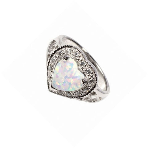 Image of Rings $39.46 Heart Shaped White Opal with CZ Stones Set in Halo Ring clear cubic-zirconia cz halo heart