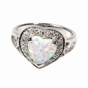Heart Shaped White Opal with CZ Stones Set in Halo Ring