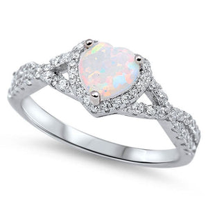 Heart White Lab Opal with Clear CZ Halo in a Twisted Shank Ring Size 4-12