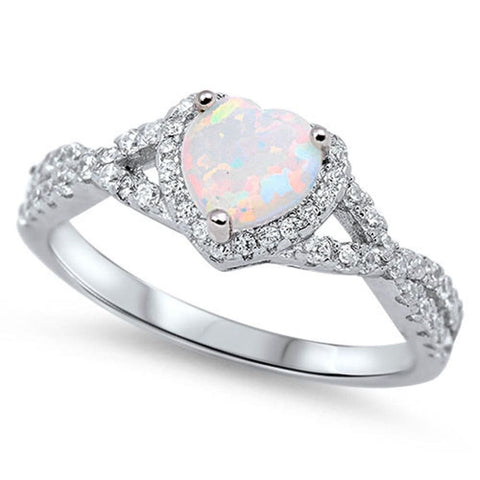 Image of Rings $29.38 Heart White Lab Opal with Clear CZ Halo in a Twisted Shank Ring Size 4-12 25-50 clear cubic-zirconia cz halo