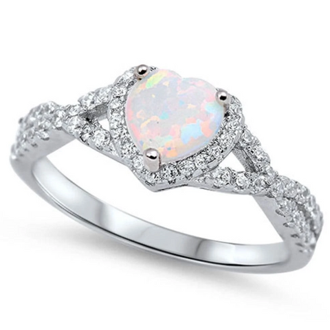 Image of Rings $29.38 Heart White Lab Opal with Clear CZ Halo in a Twisted Shank Ring Size 4-12 25-50 badge-toprated clear cubic-zirconia cz