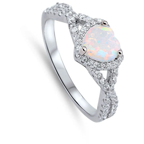 Rings $29.38 Heart White Lab Opal with Clear CZ Halo in a Twisted Shank Ring Size 4-12 25-50 clear cubic-zirconia cz halo